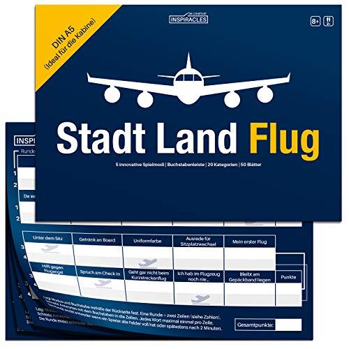 Stadt Land Flug Reisespiel - Handliches DIN A5 Format - Stadt Land Fluss Variante für Flugbegleiter, Piloten, Weltenbummler, Vielflieger - Lustiges, Cooles Gadget und Geschenk für Reisende