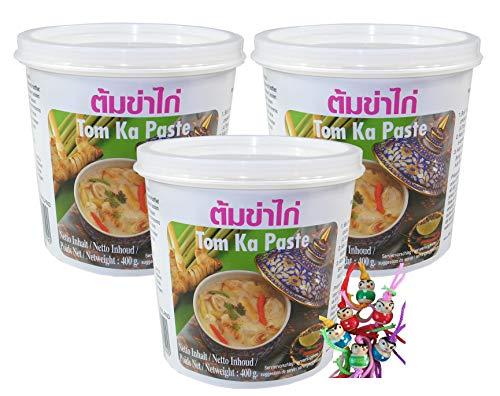 yoaxia ® - 3er Pack - [ 3x 400g ] LOBO Tom Ka Würzpaste Thai Style / Tom Kha Paste + ein kleines Glückspüppchen - Holzpüppchen