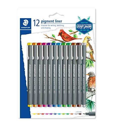 STAEDTLER Pigment Liner 30805SBK12 (alta qualità, inchiostro pigmentato, resistente alla luce, impermeabile su carta, larghezza linea 0,5 mm, confezione blister da 12 colori)