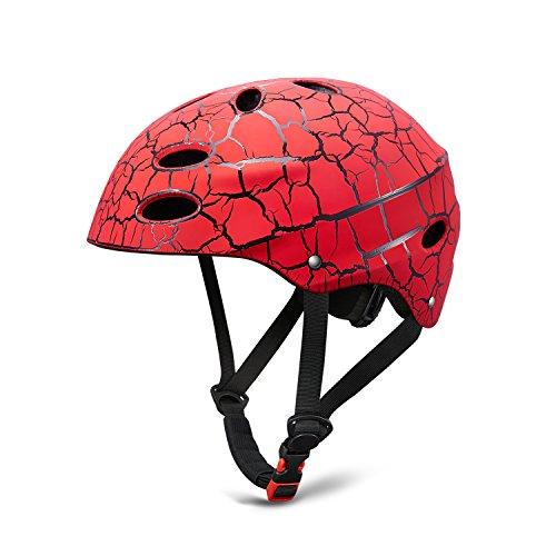 Kinder Fahrradhelm Rollerhelm ABS Schale für Radfahren Skateboard Bike BMX (Rot)
