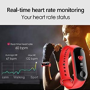 Aubess Pulsera Inteligente Fitness Tracker, M3, Pantalla táctil de Color, Impermeable, IP67, GPS, Monitor de sueño, frecuencia cardíaca, presión Arterial, para Mujeres y Hombres, 0.15, Color Rojo