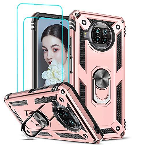 LeYi Funda Xiaomi Mi 10T Lite 5G con [2-Unidades] Cristal Vidrio Templado,Armor Carcasa con 360 grados Anillo iman Soporte Hard PC y Silicona TPU Bumper Antigolpes Case para Movil 10T Lite 5G,