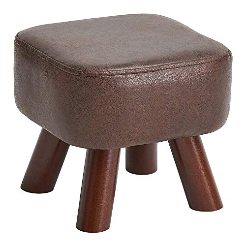 Changing Stool, Solid Wood Creative Shoes Stool, Tea Table Low Stool, Sofa Stool, Small Stool, Household Square Stool, Bed End Stoolwith Removable Linen Cover and 4 Wooden Legs for Living Room and Bed
