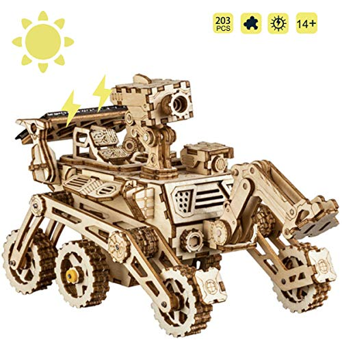 ROKR Wooden Model kits For Adult - Build Your Own Robot Model - Solar Energy Toy Model Building Kit For Kids, Teens and Adults (Curiosity Rover)