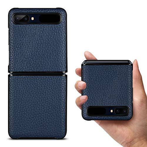 Copmob Samsung Galaxy Z Flip Hülle,Premium Echtes Leder Anti-Scratch Ledertasche Schutzhülle Handyhülle für Samsung Galaxy Z Flip 6.7 Zoll - Blau
