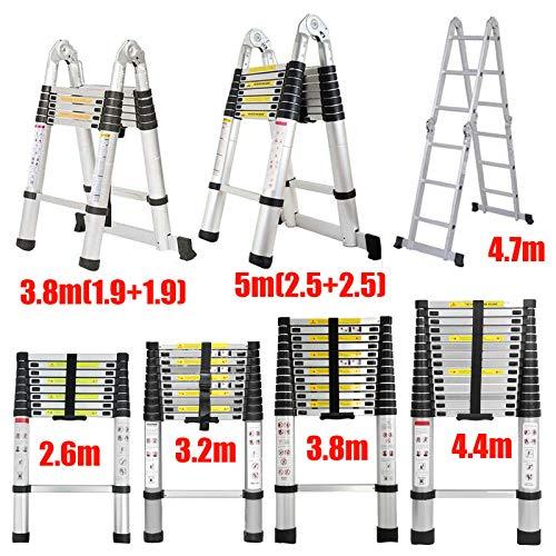 5m (2,5+2,5) Aluminium Mehrzweckleiter Teleskopleiter Ausziehbar Leiter Klappleiter Anti-Rutsch Stufen Multifunktionsleiter Trittleiter 150KG Belastbarkeit