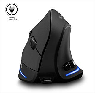 Vertical Mouse Wireless, Attoe Right Handed 2.4GHz Wireless Ergonomic Rechargeable Vertical Mouse with 3 Adjustable DPI 1000/1600/2400, 6 Buttons,Compatible with PC, Desktop,Mac (Black)