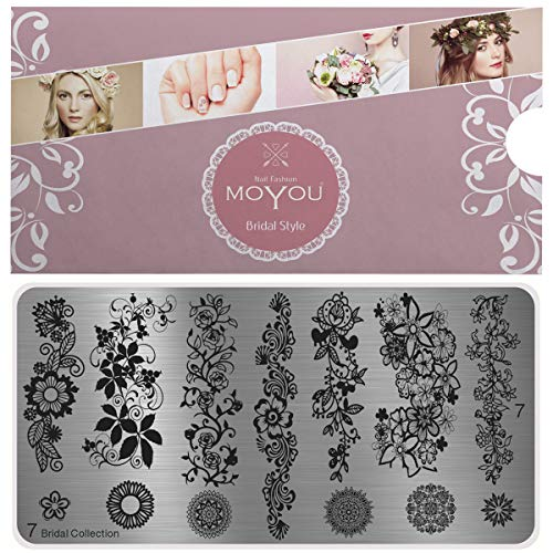 MoYou's XL Bridal plates collection 7, big Floral designs, elegant flowers, full nail designs for long nails