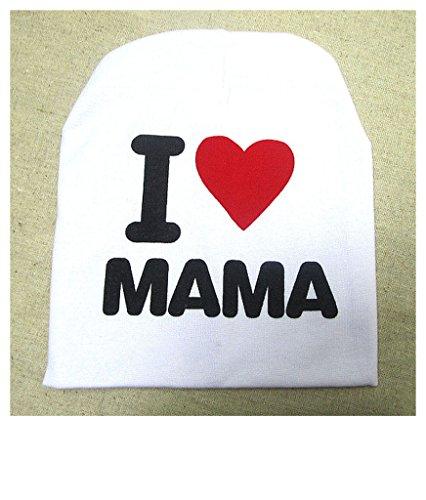 Distinct® Bouchon bébé tricoté Chaud Coton Tout-Petit Bonnet J'aime Papa/Mama Print Enfant Chapeaux