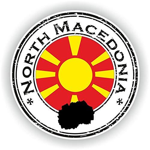 Noord-Macedonië Afdichting Ronde Vlag Vinyl Sticker voor Auto Motorfiets Bagage Skateboard Laptop Gitaar Stickers - 4 Inch