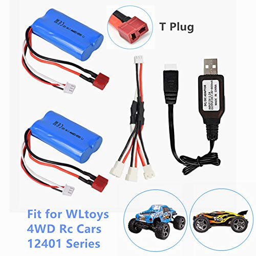7.4V 1500mAh Li-Ion Battery Rechargeable Lithium Battery for WLtoys 4WD RC Cars 12428 12423 12402 12403 12404 Series Spare Part 2 Pack with USB Charger