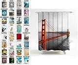 Duschvorhang, viele schöne Duschvorhänge zur Auswahl, hochwertige Qualität, inkl. 12 Ringe, wasserdicht, Anti-Schimmel-Effekt (180 x 180 cm, San Francisco)