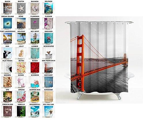 Duschvorhang, viele schöne Duschvorhänge zur Auswahl, hochwertige Qualität, inkl. 12 Ringe, wasserdicht, Anti-Schimmel-Effekt (180 x 200 cm, San Francisco)