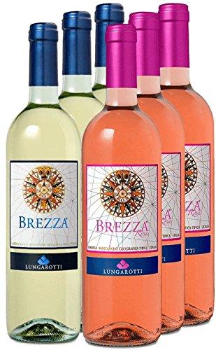 6er Vorteilspaket - Bianco e Rosa - 6 frische Brezza Sommerweine von Lungarotti | Weißwein und Roséwein | italienischer Wein aus Umbrien | 6 x 0,75 Liter