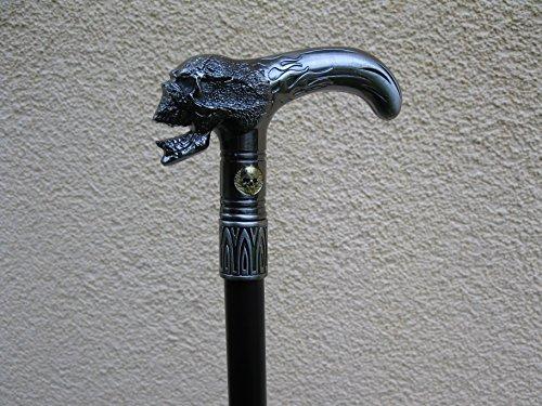 Gothique Métal Tête de Mort Canne Canne Bâton de marche 97 cm poignée en métal Walking Stick démontable avec compartiment secret M70