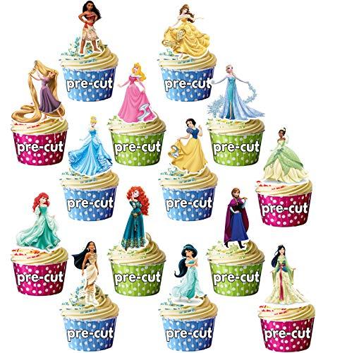 Topper per Torte con Principesse e Personaggi Femminili Disney, Pre-Tagliati, Decorazione per Torta, Confezione da 14