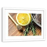 Feeby Bild mit Rahmen weißer Küche Wanddeko Zitrone