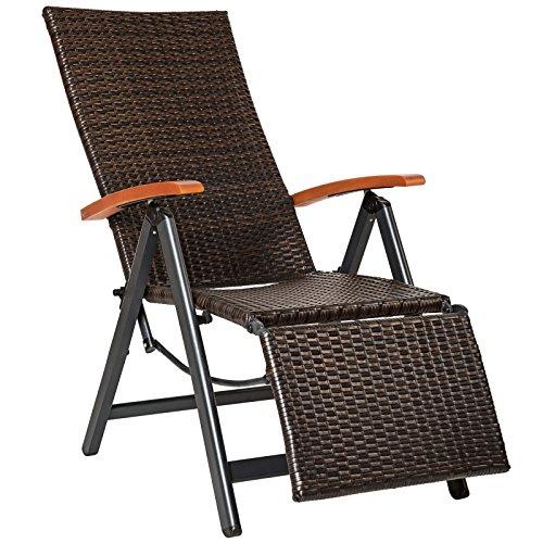 SSITG Poly rotan aluminium relaxstoel met voetensteun, ligstoel tuin