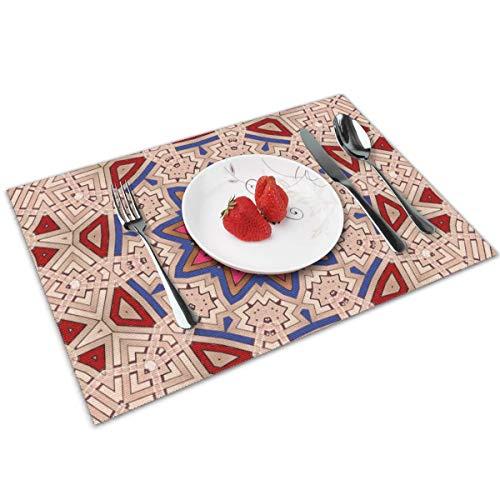 Dingl tapijt ornamenten patronen Perzische reliëf Placemat wasbaar anti-slip voor keuken diner tafelmat, gemakkelijk te reinigen Placemat 12x18 Inch Set van 4