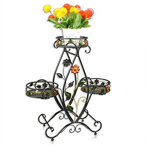 Plante de pot de fleurs, structure de plancher en bois multicouches, salon, étagère de peinture à l'intérieur et à l'extérieur (Couleur : Noir)