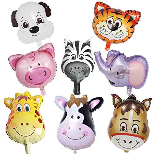 Folienballon Tiere, 10 PCS Luftballons Tiere,Dschungel Tierballons,Tierkopf Luftballons,Luftballons Tiere Kindergeburtstag - Helium ist Erlaubt, Perfekt für Kinder Geburtstag Party Dekoration