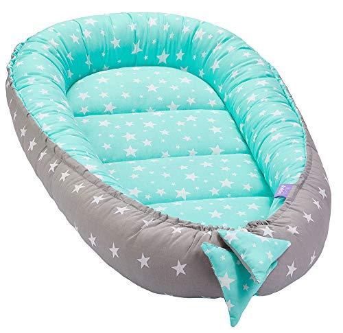 Solvera_Ltd Babynest 2-zijdig Kokon eco babybed nestje voor pasgeborenen 100% katoen knuffelnest zacht en veilig reisbed (50x90) Minty