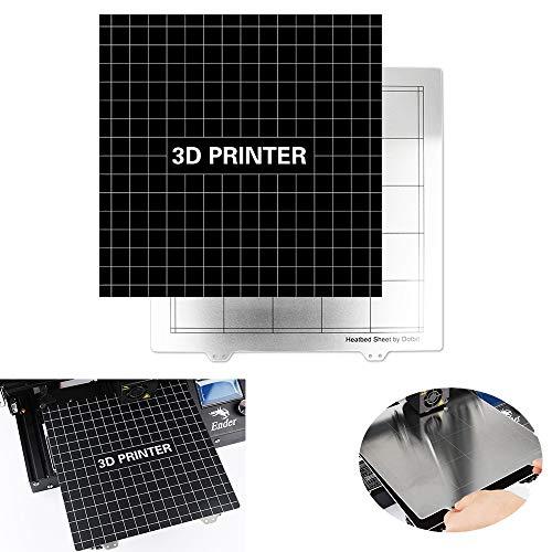 ILS - 235 x 235 mm Bed RVS verwarmd + sticker met lijm achter voor Creality Ender-3 / CR-20 / A10 3D-printer