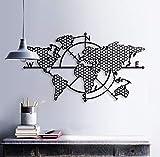 BAUPOR - Brújula de metal para pared con mapa del mundo 3D, silueta de pared de metal, decoración para el hogar, oficina, dormitorio, sala de estar, decoración, arte elegante (99 x 57 cm)