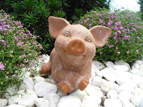 Steinfiguren Spicker Steinfigur Schwein, 126/3 Ferkel, Gartenfigur Steinguss Tierfigur Terrakotta Patina