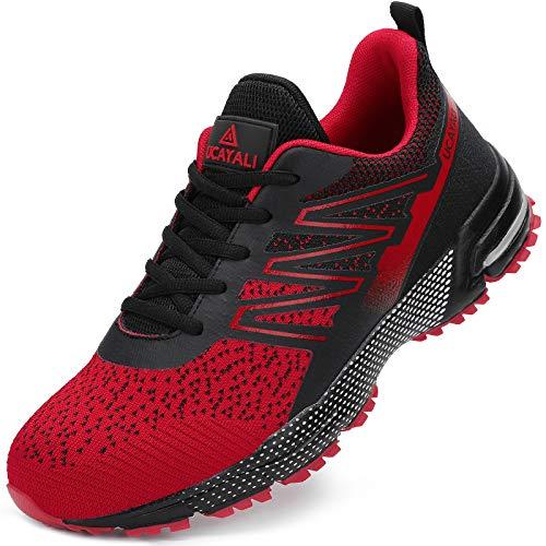 Zapatos de Seguridad Hombre Anti-Piercing Zapatos de Trabajo Punta de Acero Antideslizante Calzado Seguridad Deportivo Rojo B Gr.43