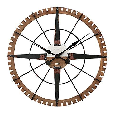 Vintage Wandklok/Nostalgische Wandklok Industriële Stijl Smeedijzer/Amerikaanse Country Slaapkamer Woonkamer Wandklok - Diameter 80cm