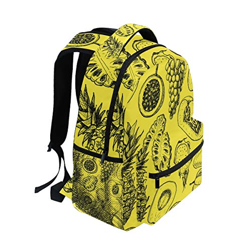 DEZIRO Tropical Fruits Geel School pack weven Rugzakken