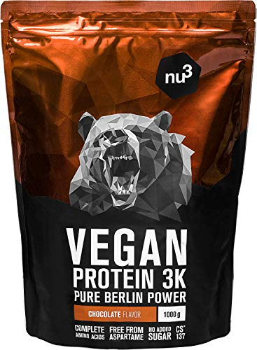 nu3 Vegan Protein 3K Shake - Chocolate Blend - 1 Kg Plant Based Protein Powder with Chocolate Flavour - made of 3-Component-Protein - with 71% Protein - Lactose and Sugar free - Before & After Workout