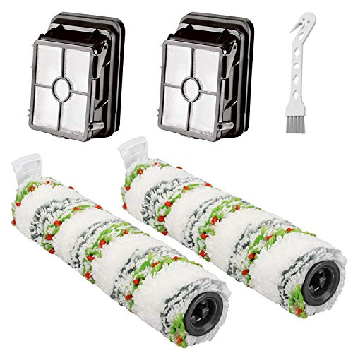 FFsign 2 Pack 2788 Multi-Surface Pet Brush Rolls + 2 Pack 1866 HEPA Filters for Bissell CrossWave Cordless Max Series 2554, 2590, 2593, 2596 Vacuum Cleaner,Compare to Part 1618641 & 1608684