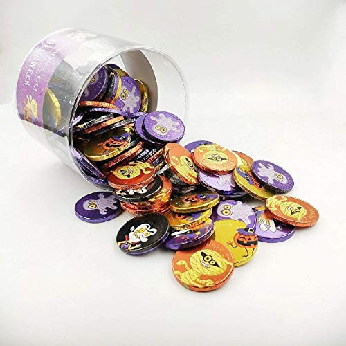 Halloween - Monedas de chocolate con leche 36 mm Bote 110 unid.