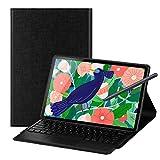 Foluu Galaxy Tab S7 Plus 12.4 2020 Tastatur Hülle, Wireless iPad Tastatur + Folio Smart Case Smart Case PU Cover Auto Sleep/Wake Magnetic für Samsung Galaxy Tab S7 Plus 2020 SM-T970/T975 (Schwarz)
