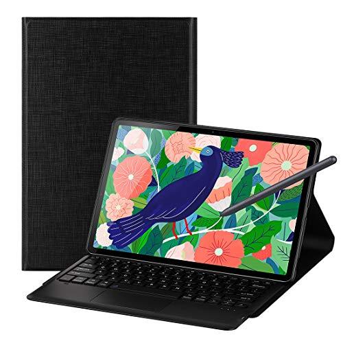 Foluu Galaxy Tab S7 Plus 12.4 2020 Keyboard Case, Wireless iPad Keyboard + Folio Smart Case Smart PU Cover Auto Sleep/Wake Magnetic for Samsung Galaxy Tab S7 Plus 12.4' 2020 SM-T970/T975 (Black)