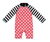 Baby Boy Swimsuit One Piece UPF 50+ Sun Protective Sunsuit with Sun Hat (Peach, 24-36 Months)