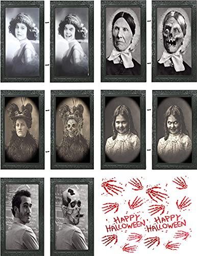 XIUWOUG Halloween Deko, 5PCS Spukfoto mit Rahmen Gruselige,Kommt mit 14 realistischen blutigen Handabdrücken, für Halloween Theme Party Home Decor,Halloween Decorations