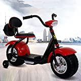 Eléctrica Motocicleta Harley Infantil Quad eléctrico para niños de 6 V Triciclo 3 kmh 2-8 años de Edad Coche de Juguete con iluminación LED - Consola de música y 2 neumáticos auxiliares,Rojo