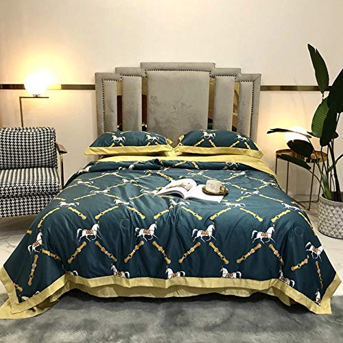 Washed Tencel Summer Quilt Set of 4 pastoral Style Single-Double Wide airable Cover Summer Quilts,Hermes Blue,200 230cm
