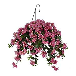 House of Silk Flowers Artificial Orchid/Pink Bougainvillea in Water Hyacinth Hanging Basket (Natural Water Hyacinth)