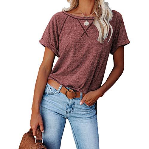 YHIIen Camisetas de mujer de manga corta para mujer, cuello redondo, bloque de color, para verano, de un solo color, informal, corte holgado, para niñas, atlético, básico, blusa Vino A M