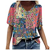 Camiseta de Verano para Mujer, Estampado de Vacas con teñido Anudado, Flores, Estampado de Paisaje, Mangas...