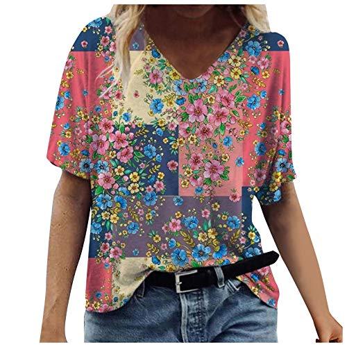 YANFANG Blusa de Camiseta con Cuello en V con Estampados de Manga Corta de Talla Grande para Mujer Casual Verano Basica Buen Juego, Green,L