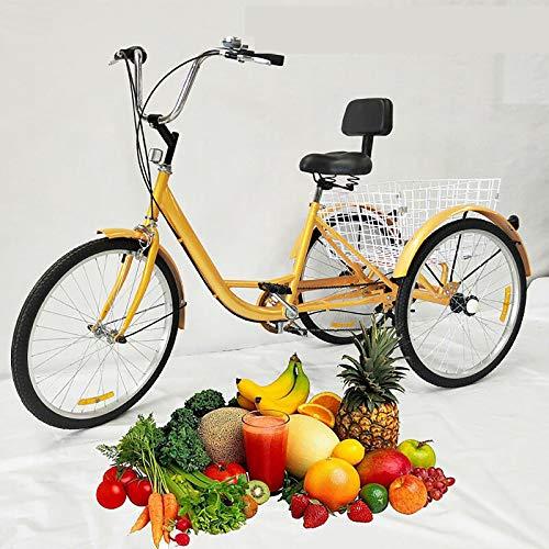 DIFU Dreirad für Erwachsene 24 Zoll 3 Rad Fahrrad 6 Geschwindigkeit Tricycle Damenfahrrad Cityfahrrad City Bike mit Korb, für Senioren Outdoor Sports Shopping