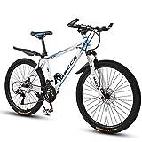 Vélo de montagne 26 pouces 27 vitesses pour hommes et femmes, cadre en acier carbone, vélo de montagne adulte, vélo de ville extérieur avec double frein à disque et fourche à suspens(Color:blanc bleu)