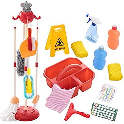 18 Pieces Detachable Housekeeping Cleaning Pretend Play Toy Set for kids, Household cleaning tools Hanging stand, Wet Floor Sign and multiple cleaning tools Housekeeping Toys for Toddlers and kids from Joyin Inc