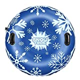 TOPEST Snow Tube, Super Big 47 Inch Inflatable Snow Sled with Double Layer Bottom & Strengthened Handles, Heavy Duty Snowflake Snow Tubes for Kids and Adults (Upgraded Version (Blue)