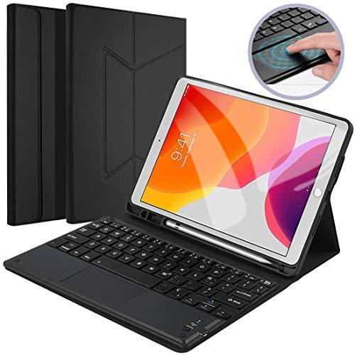 【Con Touchpad】Funda Teclado Tablet para iPad 10.2 2019, Diseño español,Elegante Magnética Delgada con Soporte para Lápiz Incorporado, Funda Teclado Bluetooth Lnalámbrico Removible para iPad 10.2